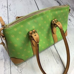 Dooney and Bourke Green and tan medium purse